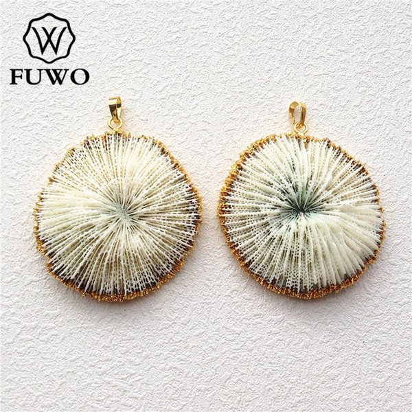 Fuwo Natural White Coral Pendant 24k Gold Electroplate Marine Coral Flower Fashion Women Jewelry Wholesale Pd503 J190519