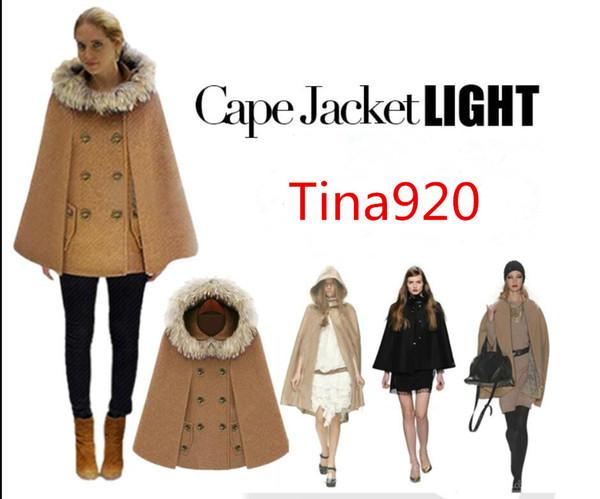 donne rosse Capes mantello di pelliccia collo donne di disegno inverno Capispalla parti superiori allentate Moda Cappotti Capes signore misto lana cappotti M-XL