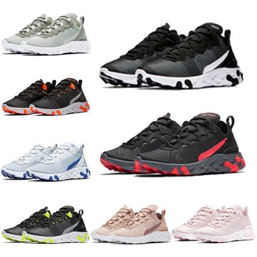 nike (Kutu ile) 2019 yeni kalite React Eleman 55 Gizli X Yaklaşan tasarımcı spor erkek kadın Lacivert Sneakers ayakkabı