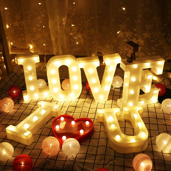 Photo Prop English Alphabet Letter Lights LED Night Lights Christmas Lights Birthday Party Wedding Festival Decorations New Product