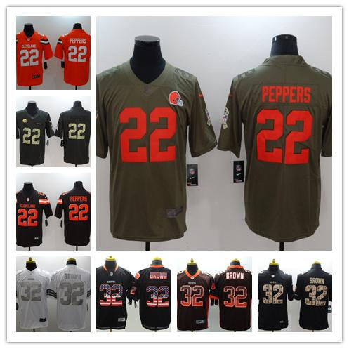 buy online 44444 06425 2018 2019 New Mens 32 Jim Brown Jersey Cleveland Browns Football Jersey  100% Stitched Embroidery 22 Jabrill Peppers Color Rush Football Shirts From  ...