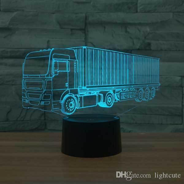 Commercial Truck 3D illusion Lamp Touch 7 Color Changing USB Table Lamp Baby Sleeping Night Light Kids Birthday Gifts Party Supplies