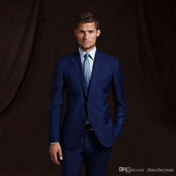 TuxedosMens costume de mariage marié bleu marine costume avec pantalon costumes de mariage garçons d'honneur meilleur homme formel costume d'affaires (veste + pantalon)