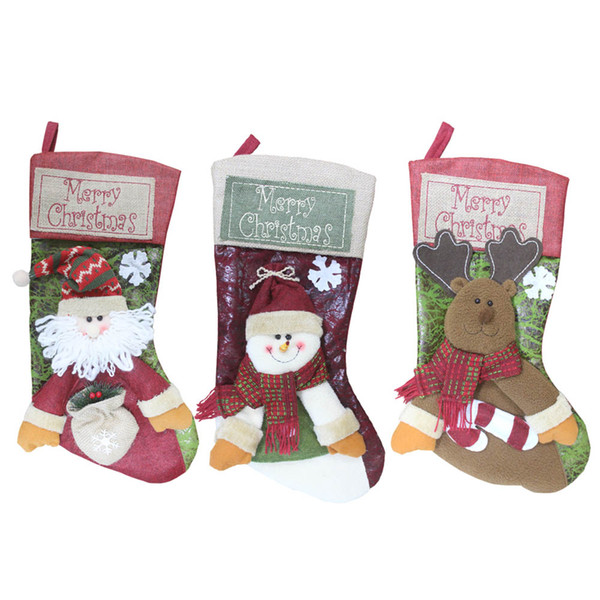 3pcs Merry Christmas Stocking Santa Claus Snowman Reindeer Gift Ornament Socks Christmas Decoration Hot Sale