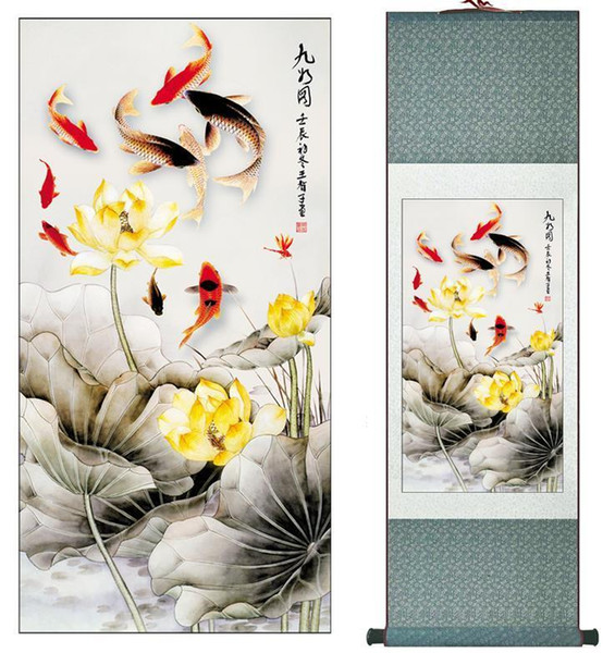 Fish And Flowers Super Quality Traditional Chinese Art Painting Home Office Decoration Chinese Paintingprinted Painting