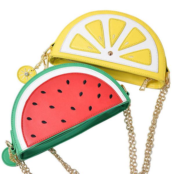 good quality 2019 New Female Hand Bag Pu Leather Women Cute Fruit Packet Chain Shoulder Messenger Bag Orange Watermelon Bag