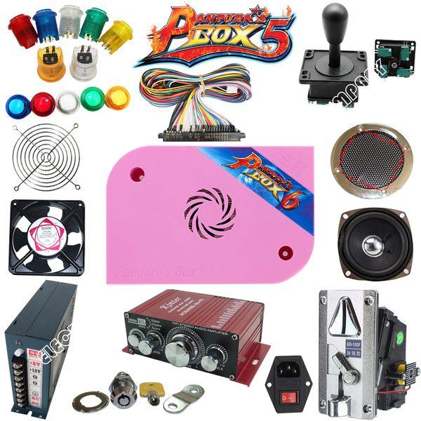 Arcade Teile Bundles Mit Leuchtknopf LED Lampenfassungen Muttern Joystick Player Tasten Mikroschalter Pandora Box 6