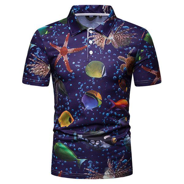 Blue Printed Designer Mens Tshirts Sea World Lapel Neck Short Sleeve Mens Tops Summer Skinny Male Tees