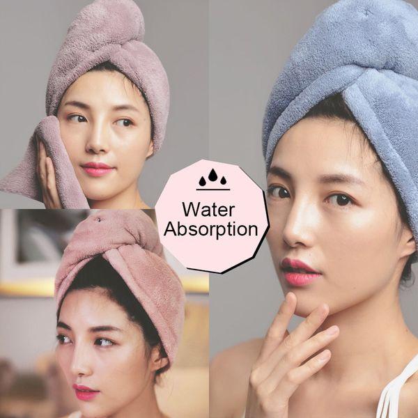 Nouveau Grand Séchage Rapide Cheveux Turban Serviette 100/% coton cheveux Wrap serviette de bain Cap