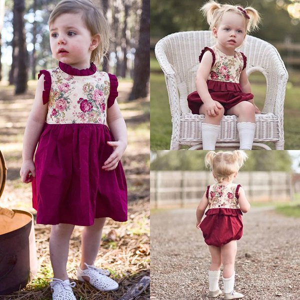 Fashion Newborn Baby Girl Baby Kids Flower Little Sister Romper Big Sister Dress Sleeveless Red Cotton Clothes 0-6Y Summer Cute