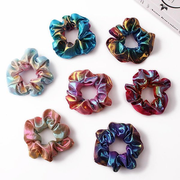 Hair Scrunchie Accesories Women Girl Ponytail Holder Hair scrunchies Dot Shiny Fabric Gradient color Laser Hair bands Headband 50pcs