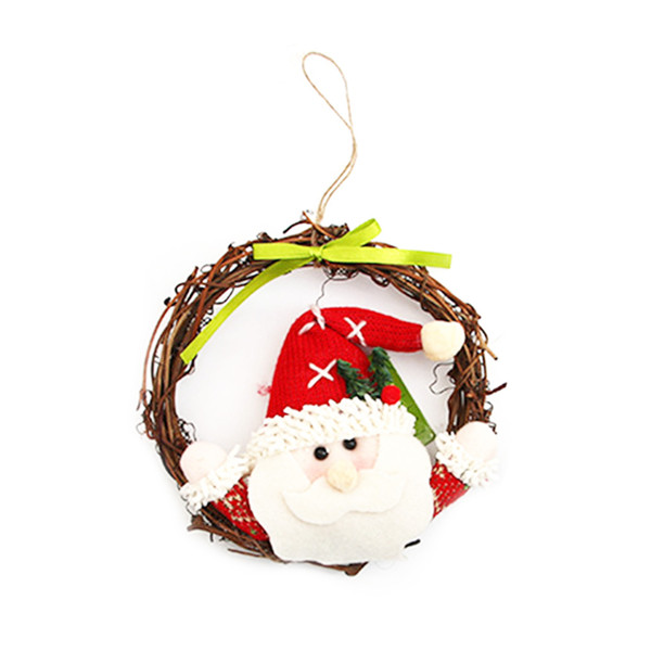 1 pcs Christmas Wreaths Door Hanging Decoration Rattan Ring Garlands Xmas Decorations Christmas Ornament For Home Decor