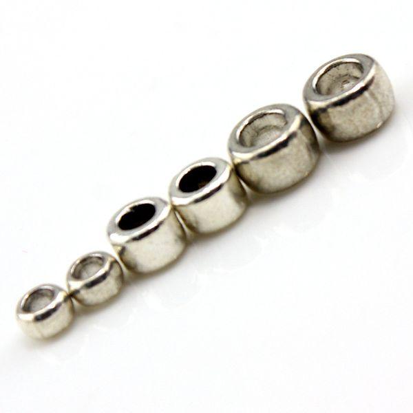 50 pz / lotto Tibetano Argento Tubo di Metallo Rondelle Branello Allentato con Big Hole Fit Gioielli FAI DA TE Fatti A Mano Europeo Accessori