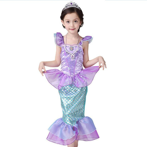 Compre Vestido De Princesa Ariel Para Niñas Bebés La Sirenita Ariel Princesa Cosplay Fantasia Sirena Vestido De Cola Niños A 2049 Del Vanilla03