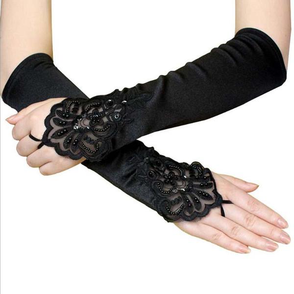 Black Embroidered Long Gloves Women Halloween Fingerless Beading Sequin Gloves Vintage Gothic Gloves Nightclub Wedding Bride Accessory