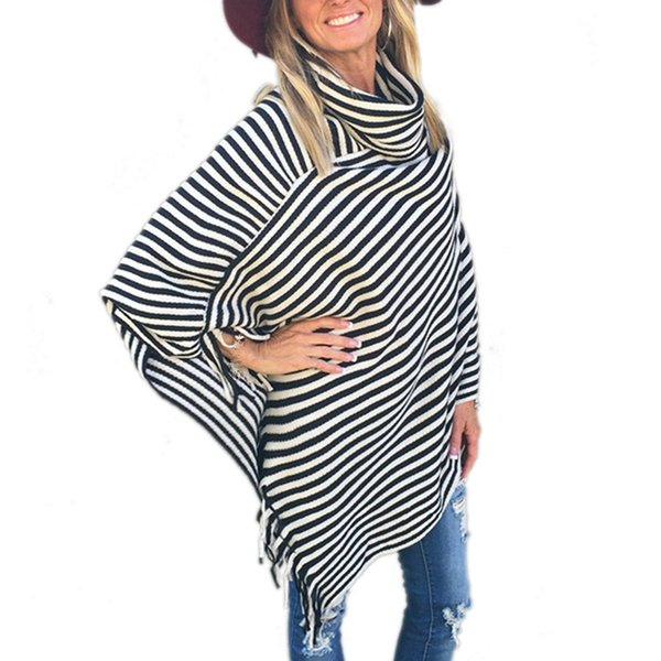 Striped Scarf High Collar Pashmina For Women Tassel Ponchos Warm Scarves Top Casual Shawl Capes