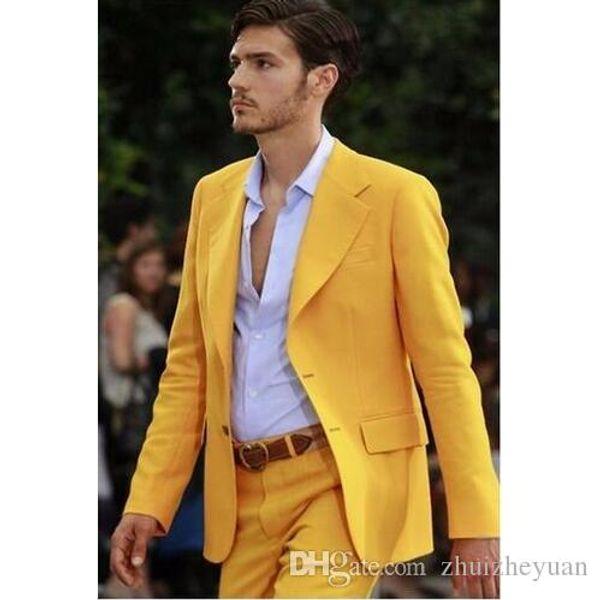 Fashion Yellow Groom Tuxedos Men Suits Wedding Tuxedos Men Prom Party Wear Groomsmen Suit For Wedding (Jacket+Pants)