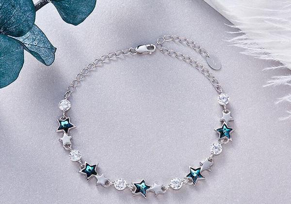 YTF327 925 Silber Zirkon Mädchen Hochzeitskleid Armband Geburtstagsfeier Geschenk