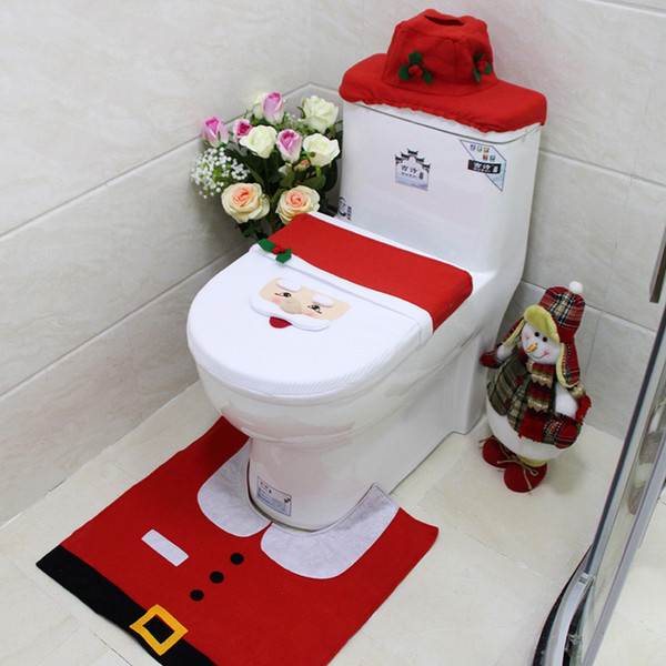 3Pcs Christmas Snowman Pattern Toilet Set Bathroom Mats Set Xmas Decoration UK
