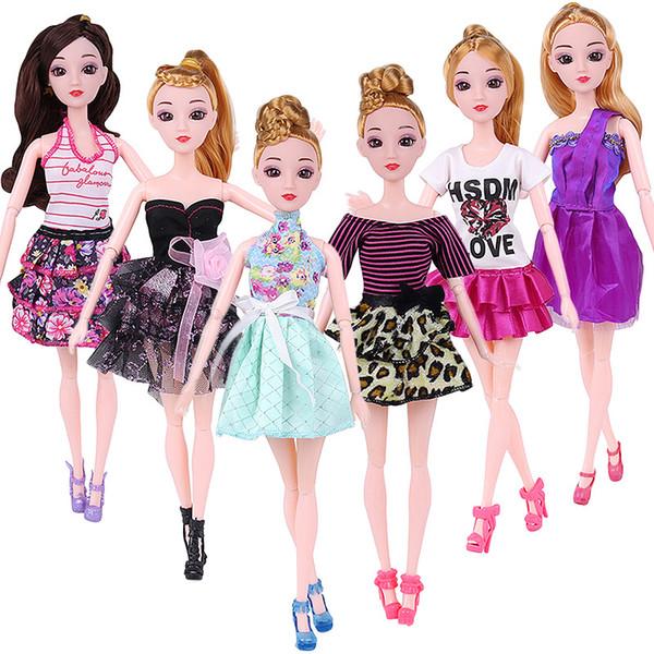10 stück Puppe Kleid Schöne Outfit Handgemachte Party Kleidung Top Mode Rock Für Barbie Edle Puppe Beste Kind Girls'Gift Nach dem Zufall