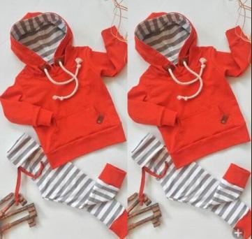 Bebek Bebek Boys Giyim Kırmızı Hoodie Çizgili Pantolon 2 parçalı Bebek Kıyafetler Casual Bebek Giyim Uzun Kollu Çocuk Giyim 0--24M set