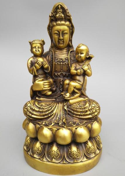 Seiko de China talla de bronce puro Guanyin bodhisattva abrazo bebé estatua de Buda