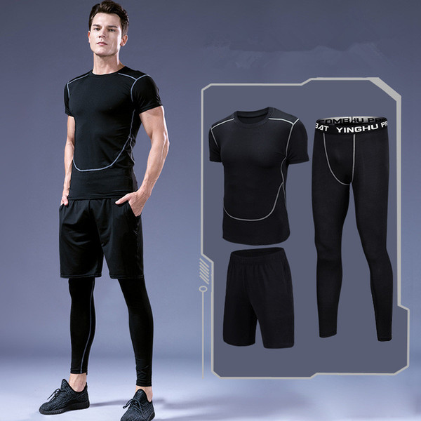 3Pcs/Set Men's Sport Suits Quick Dry Running sets Clothes Sports Joggers Training Gym Fitness Tracksuits Sportsware Suit