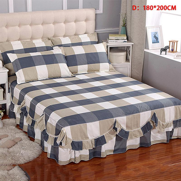 23Style Romantic Two Layer Bed Skirt Elegant Plaid Floral Bedspread Satin Cotton Bed Sheet for Wedding Home Decoration Cover