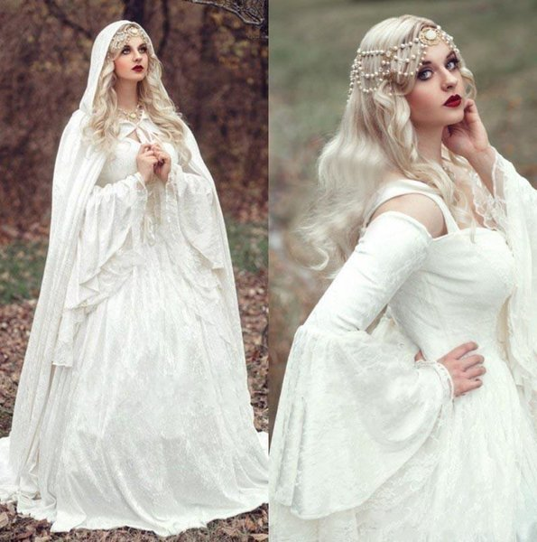2019 Renaissance Gothic Lace Ball Gown Wedding Dresses With Cloak Plus Size Vintage Bell Long Sleeves Celtic Medieval Princess Bridal Gowns