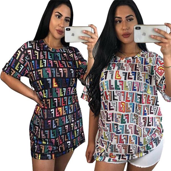 Femmes Casual Long T-shirt De Couleur FF Lettre Imprimer Jupe Courte À Manches Cou Ras Du Cou De Mode D'été Streetwear Filles Club Vêtements C71107