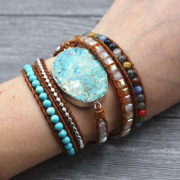 Последние 2018 году - 5X Кожаный браслет из бисера Wrap Огромный OceanStone браслет, Boho Chic ювелирные изделия, артистический браслет Валентина подарок!