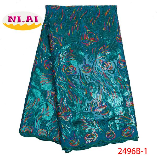 Teal Green Fabric Africa Lace Fabric Yard, Organza Fabric Lace, Dress Women For Dresses MR2496B