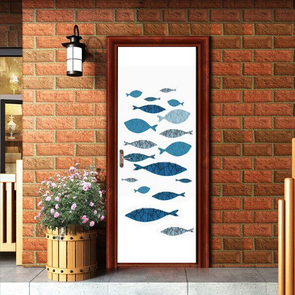 Cartoon DIY 3D Effect Vivid paintting Fishes Door Stickers Mural Living Room Bedroom Home Decoration Accessories Art Vinyl Decal