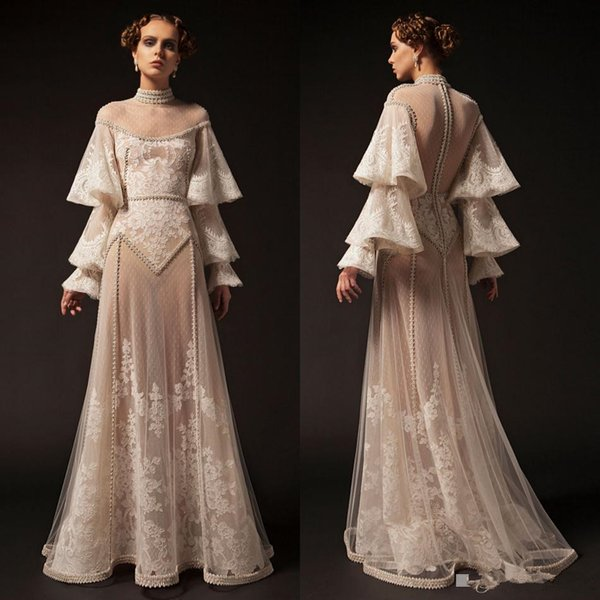 Krikor Jabotian 2019 New Prom Dresses High Neck Lace Applique Long Sleeve Beaded Formal Party Dress Vintage Pageant Evening Gowns