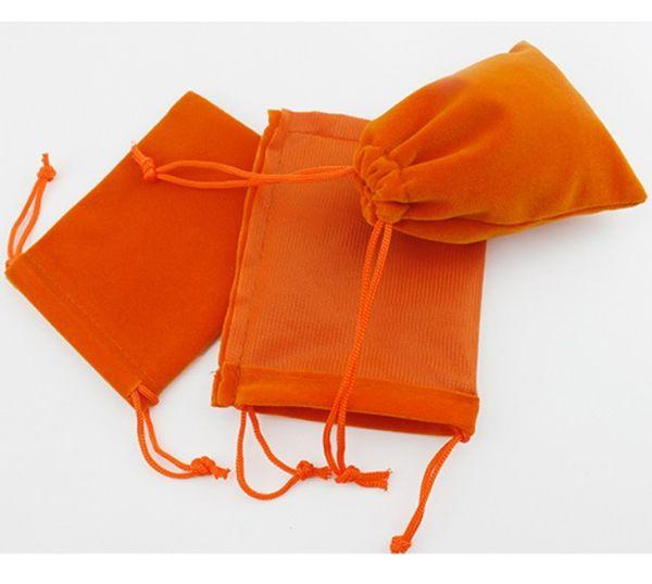 Orange velours cadeau 50pcs Sac 8x10cm (3x4inch) Maquillage Bijoux Pouch Drawstring