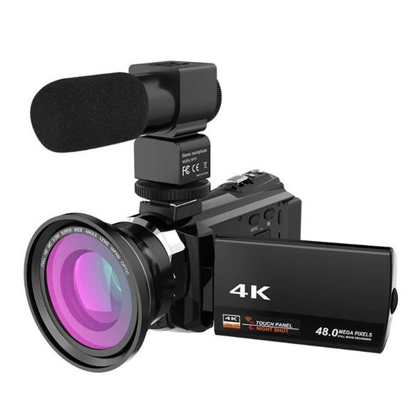 1PC 16X Zoom Digital Video Camera DV WiFi 4K 1080p Camcorder + Mic + lente grande angular UK plug