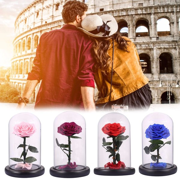 Glass Cover Fresh Preserved Rose Flower Barbed Rose Flores For Wedding Marriage Home Party Decoration Valentine 'S Day Gift
