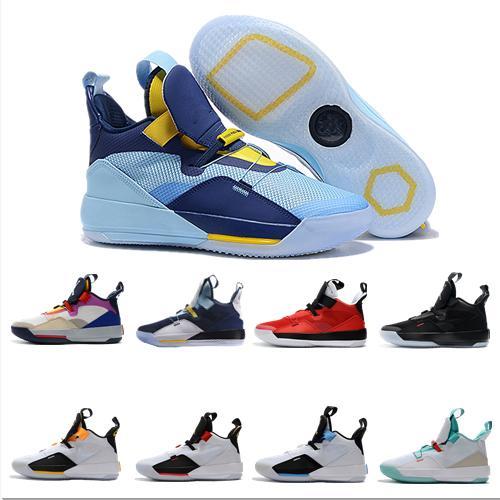 2019 Nouveau Meilleur Jumpman XXXIII 33 Chaussures de basket Hommes 33s Or / Championnat MVP Finales Entraînement Sneakers Sport Chaussures de course Taille