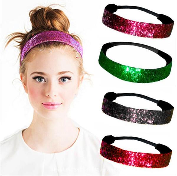 Pul Kafa Bandı Kız Glitter Bling Bandeau Şeker Renk Saç Parlak Pullu Bantlar Elastik Headwraps HeadWear Saç Aksesuarları C5487 Sopalarla
