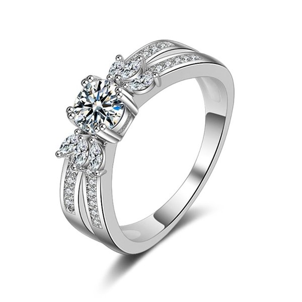 Princess Wedding Solitaire Rings Pure Clean CZ Zircon Platinum Plated Knot Elegant Simple Designer Jewelry For Women Engagement Ring Gifts
