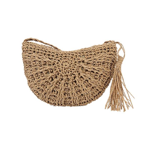 Retro Semicircular Woven Crossbody Bag For Women Tassel Rattan Straw Shoulder Bags Summer Beach Handbag #YJ