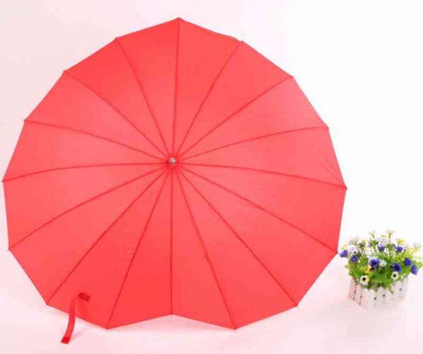 Red Heart Shape Umbrella Peach Hearts Women Children Kids Umbrellas For Party Engagement Photo Props Long Handle Unbrellas