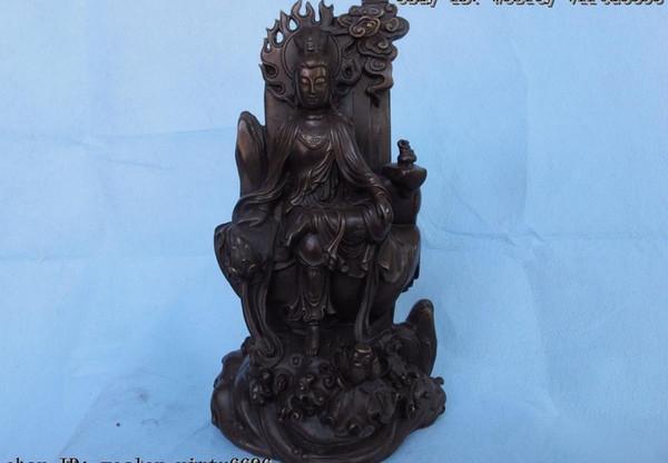 13 fleur de lotus Kwan yin GuanYin Statue de Bouddha