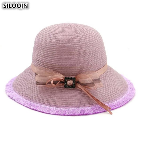 SILOQIN Foldable Ladies Straw Hat Elegant Fashion Women's Bucket Hats 2019 New Summer Breathable Beach Hats For Women