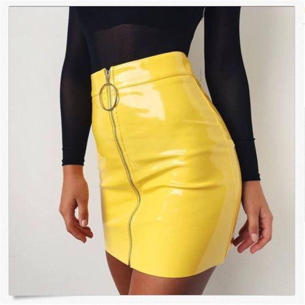 Llegada Nuevo verano Mujer Pu Cuero Lápiz Faldas Cintura alta Mini Falda corta Stretch Party Vestidos