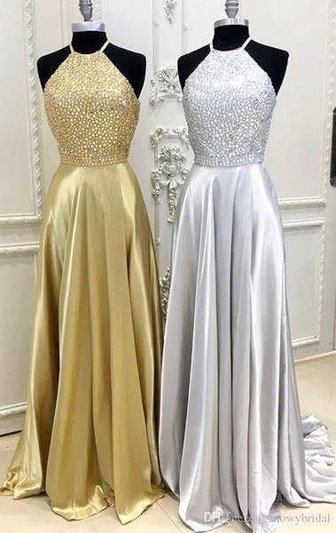 Silver Gold Stretch Satin Long Prom Dresses Halter Beaded Top A-line Short Train Open Back Teens Formal 2k18 prom Gowns Custom Made