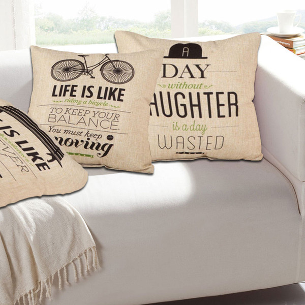 Letters Quote Words Home Sofa Bed Decor Pillow Case Decorative Cushion Cover