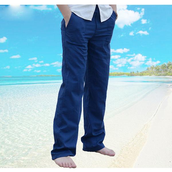 2019 New Top quality Men's Summer Casual Pants Natural Cotton Linen Trousers White Linen Elastic Waist Straight Man's Pants