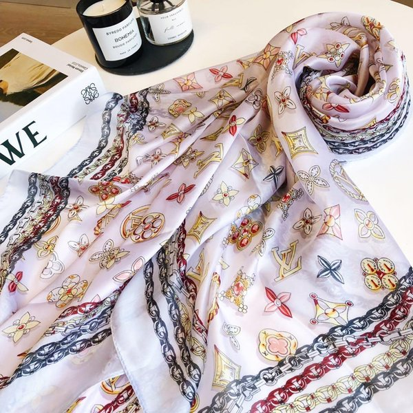 New Designer Brand Silk scarf for Women 2019 Summer Designer Full Logo Green Floral Flower Long Scarves Wrap With Tag 180x90Cm