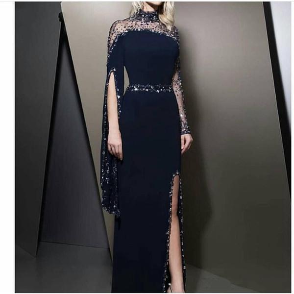 2019 abiti convenzionali Alta collo Navy Blue Abiti da sera caftano Dubai in rilievo del partito maniche lunghe Modest robe de soiree Split Prom Dress